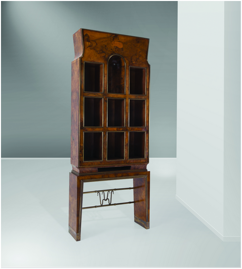 GIO PONTI (1891-1979) - piece of furniture of wood and brass, 76 x 195 x 26 cm, Italy 1932