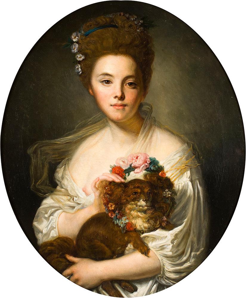 Jean-Baptiste (Tournus 1725 - Paris 1805) - Girl with dog