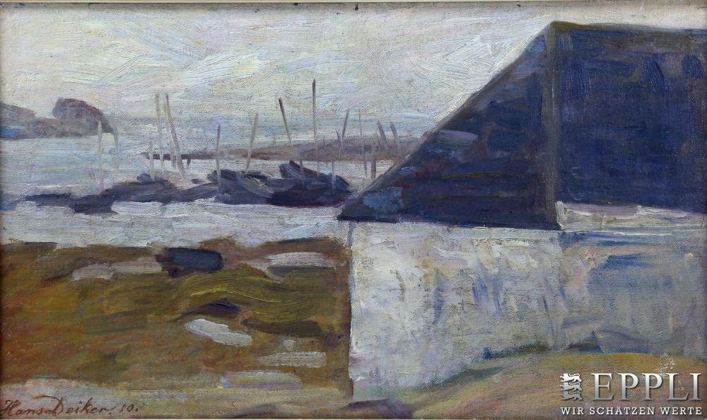 HANS DEIKER - Küste, Öl/Lwd., signiert und datiert, 1910