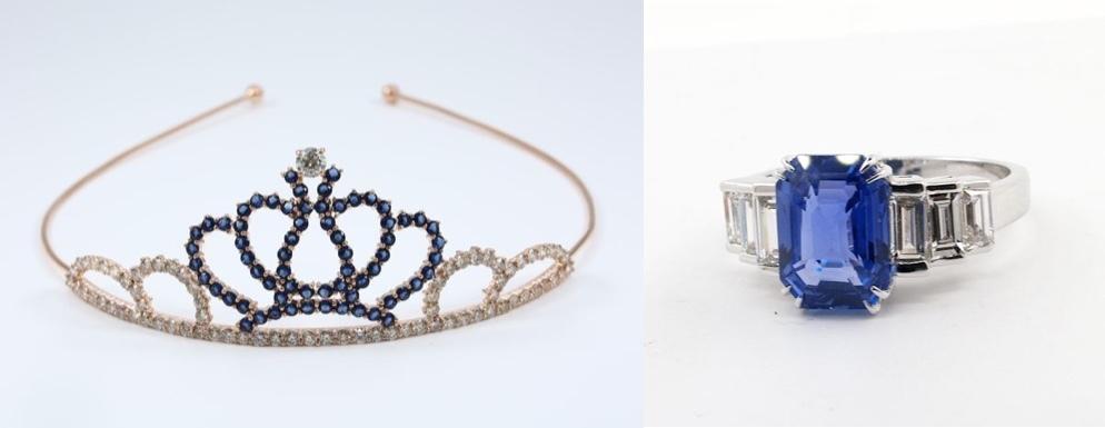 Vänster: Diadem roseguld, diamanter och safirer Höger: Ring i vitt guld, safir och diamanter.