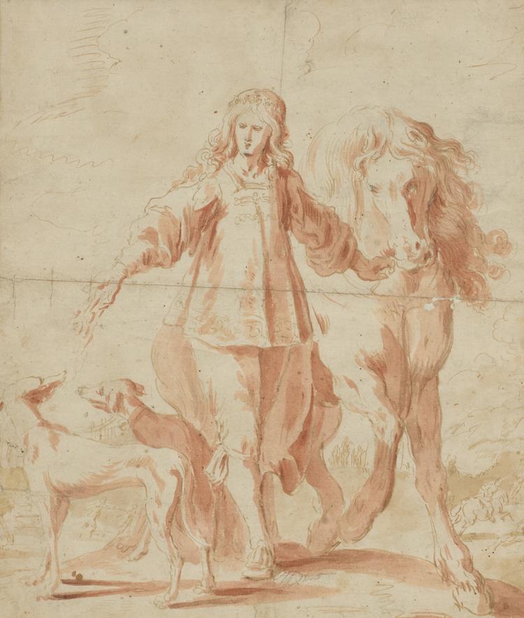 Kretsen kring Anthony van Dyck anses ha ritat teckningen i rödkrita och blyerts. Pojken med häst och två hundar ropas ut för 6-8 000 kronor hos Uppsala Auktionskammare