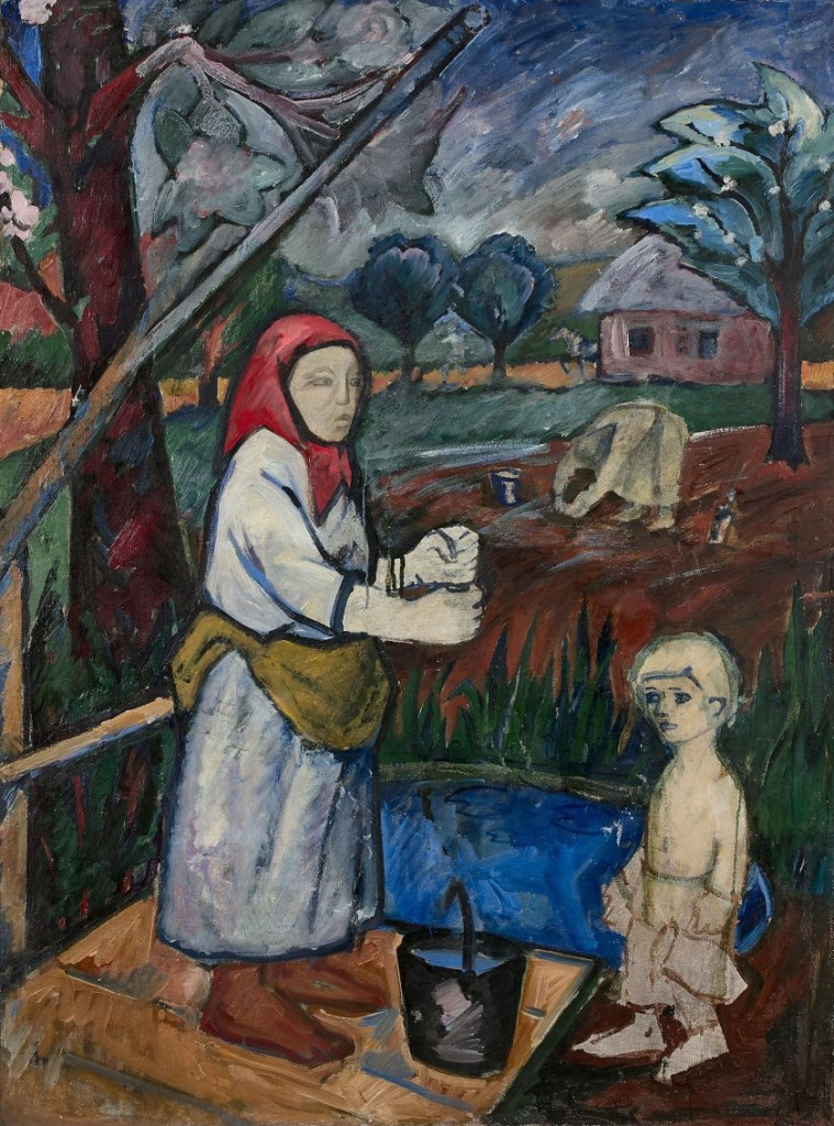 painting image peasant woman and child at well