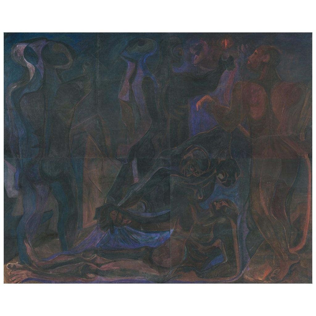 PEDRO CORONEL (1923-1985) - Prometeo, Gouache und Pastell auf Papier auf Lwd., 4-teiliger Polyptychon, 250x306 cm, ca. 1952 Startpreis: 3.800.000 MXN (ca. 175.546 EUR)