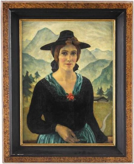 . D3 ERNST NEPO (NEPOMUZKY de 1895 Dauba, Bohemia-1971 Innsbruck) - Tres cuartos retrato de un joven vista frontal paisaje Zillertalerin (Liesl Oberforcher), aceite / LWD, aprox 65 x 50 cm, firmado y fechado en 1926 estimado: 14.000 a 20.000 euros precio de salida : 9.500 euros