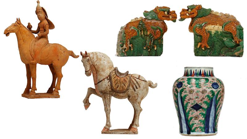 - Figur, lergods, Kina, Tang (618-907). - Figur, lergods, Kina, Tang(618-907). - Takryttare, ett par, lergods, Kina, Ming (1368-1644). - Balusterurna, porslin. Kina, Transition 1600-tal.