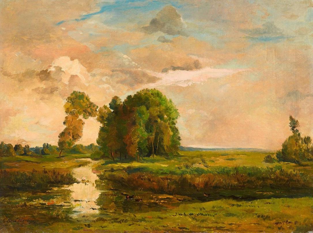 Karl Pierre DAUBIGNY (1846 - 1886) Paysage Huile sur toile