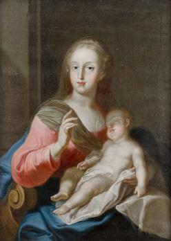 Carl HENRICI (Autriche 1737-1823) Madone à l'enfant endormi PrivateLot.com