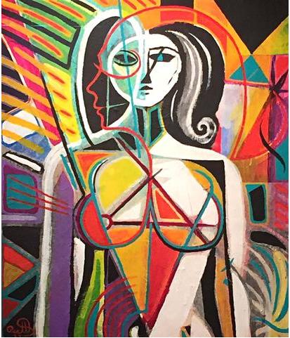 Dorothy Brett (1883-1977), Abstract Figure, 1977. Blandteknik, signerad.