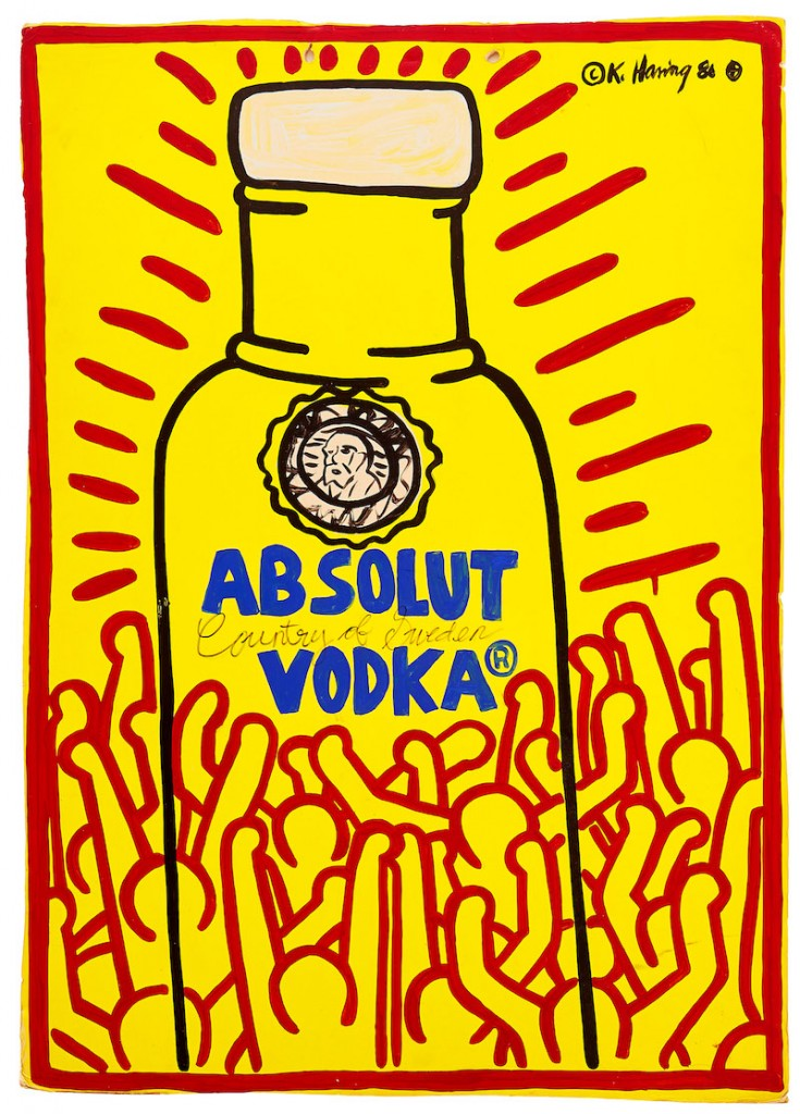 """Keith Harings """"Absolut Vodka"""" är signerad och daterad © K. Haring 86 ⊕. Det nästan meterhöga verket är inköpt direkt av konstnären. Därefter har den sålts på Christie´s i maj 1990 innan den hamnade oss nuvarande ägaren. Men nu har man alltså chansen att köpa målningen för 3-4 miljoner kronor på Uppsala Auktionskammare"""