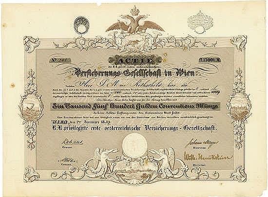 K.-K. privilegirte erste österreichische Versicherungs-Gesellschaft Wien, 01.01.1839, Aktie über 1.500 Gulden Schätzpreis: 5.000-10.000 EUR