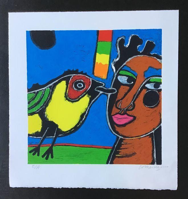 Corneille, La langue de l'oiseau, lithographie signée, 2000
