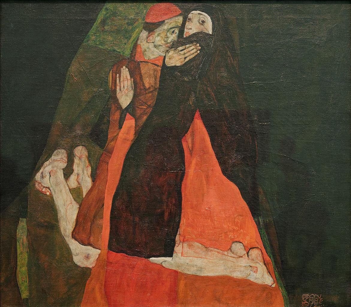 Egon Schiele, Le cardinal et la none, 1912, via Wikipedia