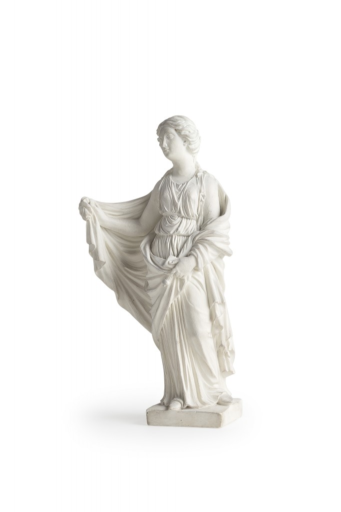 Naples,18th century. Figures like this might be modelled on pieces used in ancient frescoes from the Roman cities destroyed by Vesuvius in 79 AD. The statuette was estimated at 1,400-1,600 euros and was sold for 2,480.