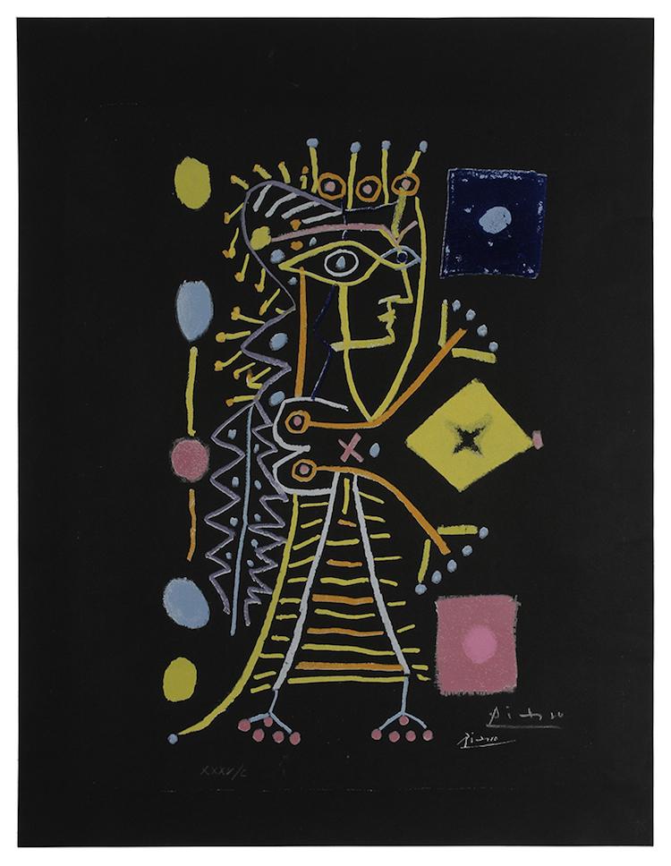 PABLO PICASSO. Jacqueline. La Femme aux Des, 1958, edition XXXV/C. Estimate $3,000 - $5,000 Photo via Brunk Auctions