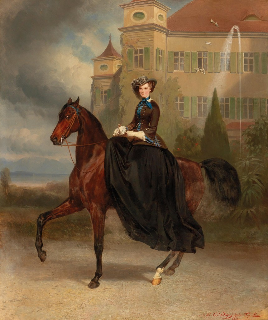 Carl von Piloty (1826-1886) och Franz Adam (1815-1886) -. Kejsarinnan Elisabeth av Österrike som brud till häst i Possenhofen 1853, Olja / LWD, 128 x 108 cm, betecknad, signerad och daterat 1853 Utropspris: 300,000-400,000 EUR