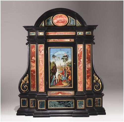 Nachtuhr aus Ebenholz mit Verzierungen in Petra Dura-Technik und vergoldeter Bronze, 71 x 21 x 84 cm, Gio Monginot, Florenz um 1690 Schätzpreis: 15.000-18.000 EUR