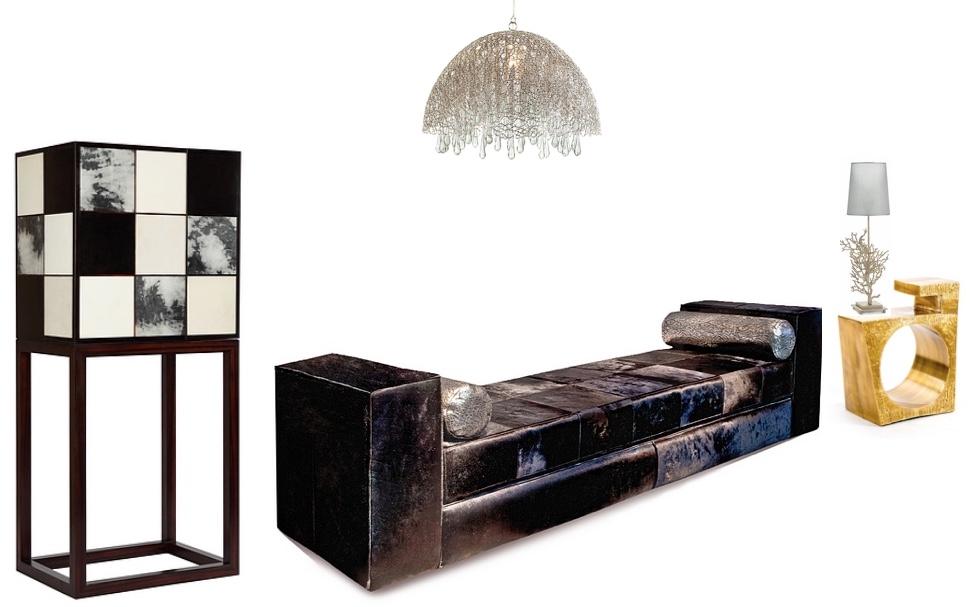 """Bar Cabinet """"Elvin"""" Deckenlampe """"Fairytale Nickel"""" Bank """"Istanbul Black"""" Tischlampe """"Coral Stand White"""" Goldener Beistelltisch"""
