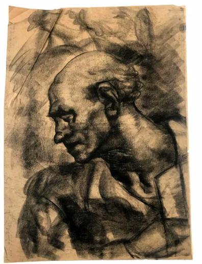 Study for The Accordionist in charcoal, Leonard Benatov. Image: Tessier