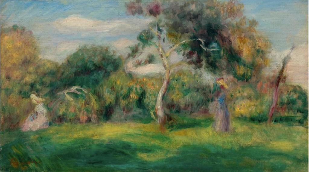 PIERRE AUGUSTE RENOIR (Limoges 1841 - 1919 Cagnes-sur-Mer) - Pré, arbres et femmes, Öl/Lwd., 23 x 41 cm, Stempelsignatur, um 1899 Schätzpreis: 220.000-280.000 CHF (203.700-259.260 EUR)