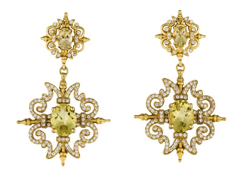 Pendientes en oro amarillo de PAUL MORELLI con diamantes y cuarzos verdes