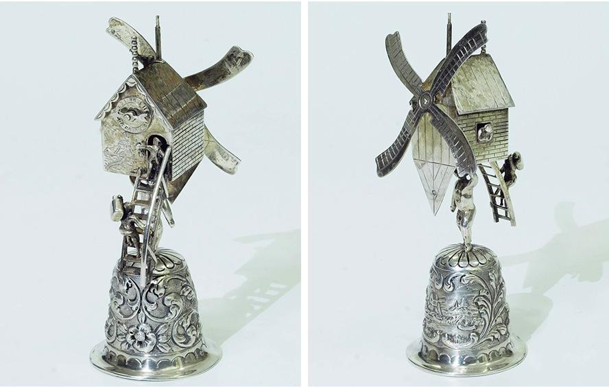 Tischglocke in Form einer Windmühle, Niederlande 19. Jh.