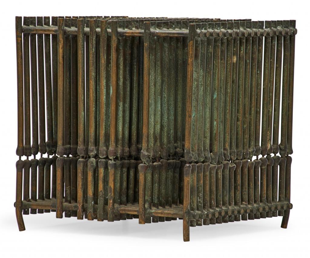 "Harry Bertoia Cube Sculpture. Untitled sculpture (Cube), Bally, PA; Beryllium copper; Unmarked; 6 1/4"" cu.; Provenance: Private collection, Pennsylvania $8,000-12,000"