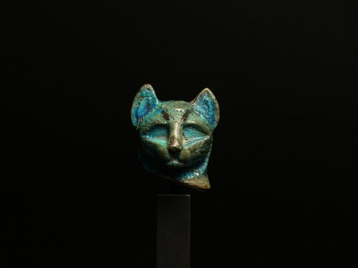 EGYPTIAN FAIENCE CAT HEAD MIDDLE KINGDOM, CIRCA 2030-1640 B.C. Fixed price: $4,500. Photo via Medusa Ancient Art
