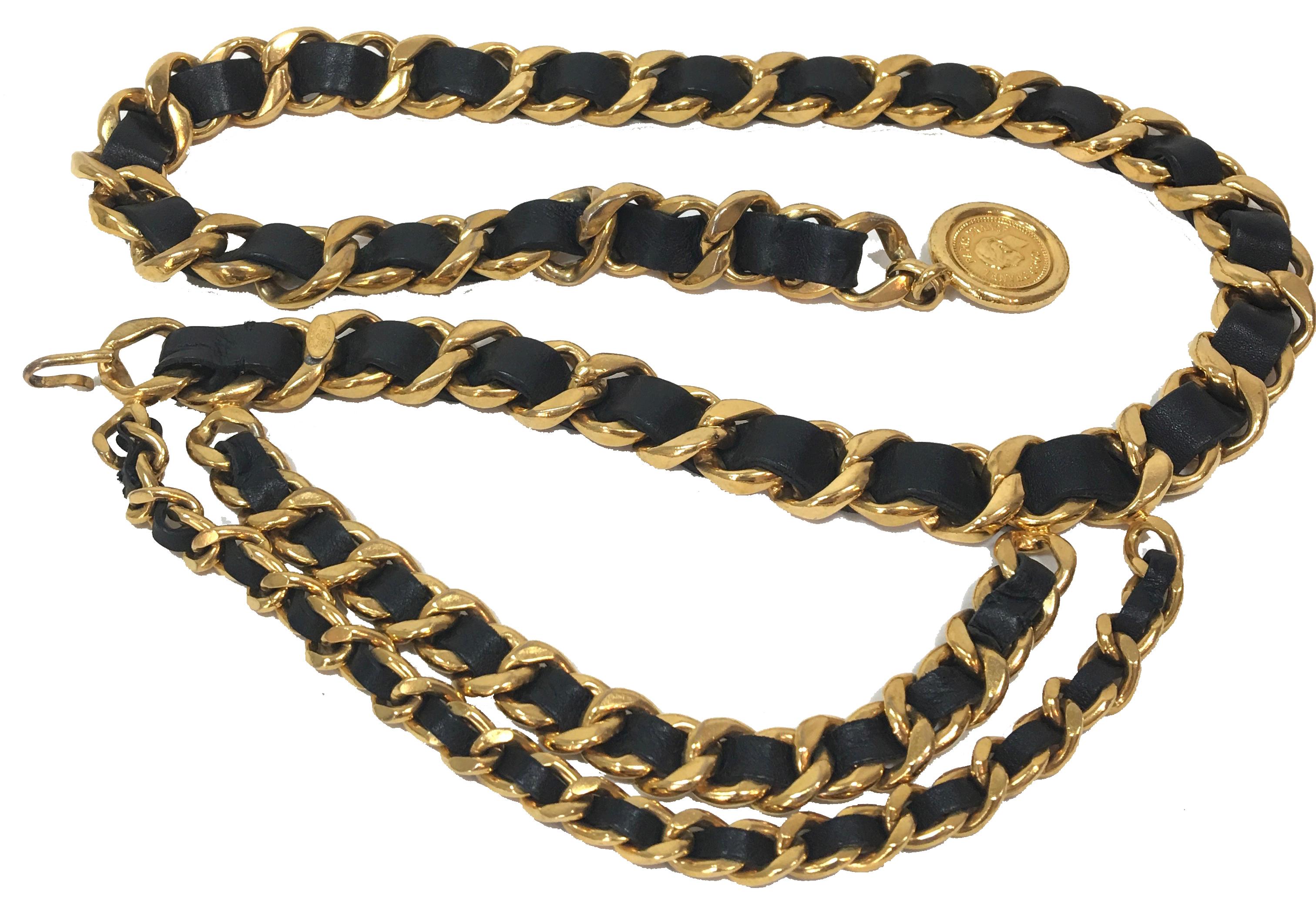 Chanel-belt-gold-chain-black-leather copie