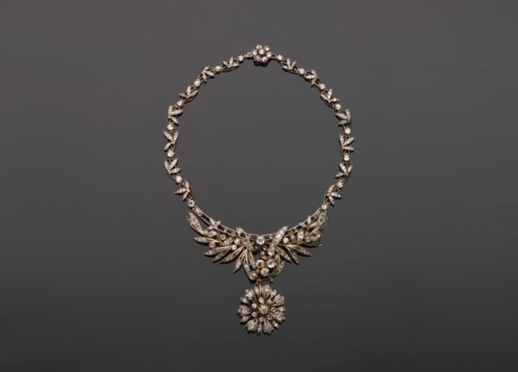 Falize (attribué à), collier serti de diamants de taille ancienne, estimation : 8 000 - 10 000 euros, image ©Magnin Wedry