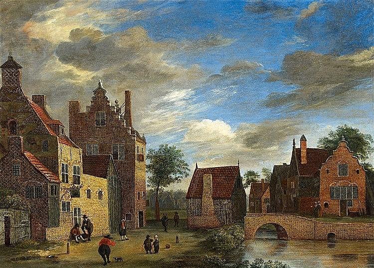 JAN VAN DER HEYDEN (1637 Gorinchem - 1712 Amsterdam) - Vue d'une petite ville, huile sur bois, 25 x 34 cm Estimation: 180 000 à 200 000 EUR