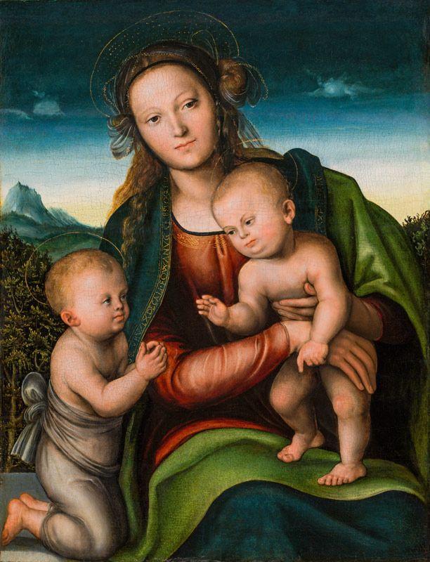 LUCAS CRANACH D. Ä. (Kronach 1472 - 1553 Weimar) - Madonna mit Kind und Johannesknaben, Öl/Holz, um 1512
