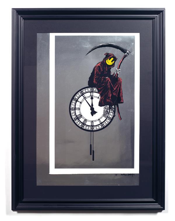 BANKSY (Né en 1974) Grin Reaper, 2003 Sérigraphie sur papier argenté Signée, datée 03 et numérotée AP en bas à droite Epreuve unique 76x60 cm