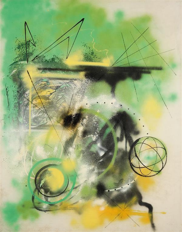 FUTURA 2000 (né en 1955) Green arrow, 1984 Technique mixte sur toile Titrée, signée et datée au dos 172 x 136 cm