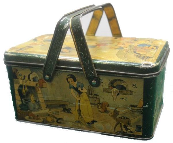 Walt Disney Productions - Blechdose in Form eines Korbes mit Motiven aus dem Film, 1930er Jahre