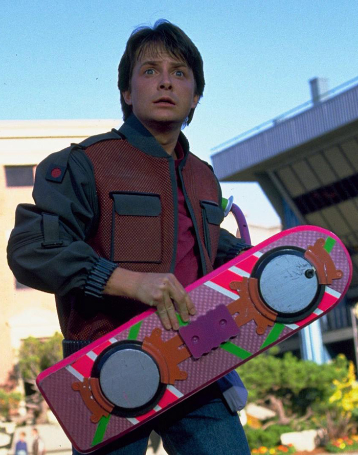 Marty McFly's hoverboard in 'Back to the Future II'