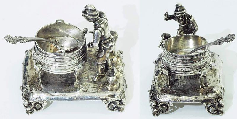 """Figürliche Saliere """"Der kleine Böttcher"""" mit Gewürzlöffel, Silber"""