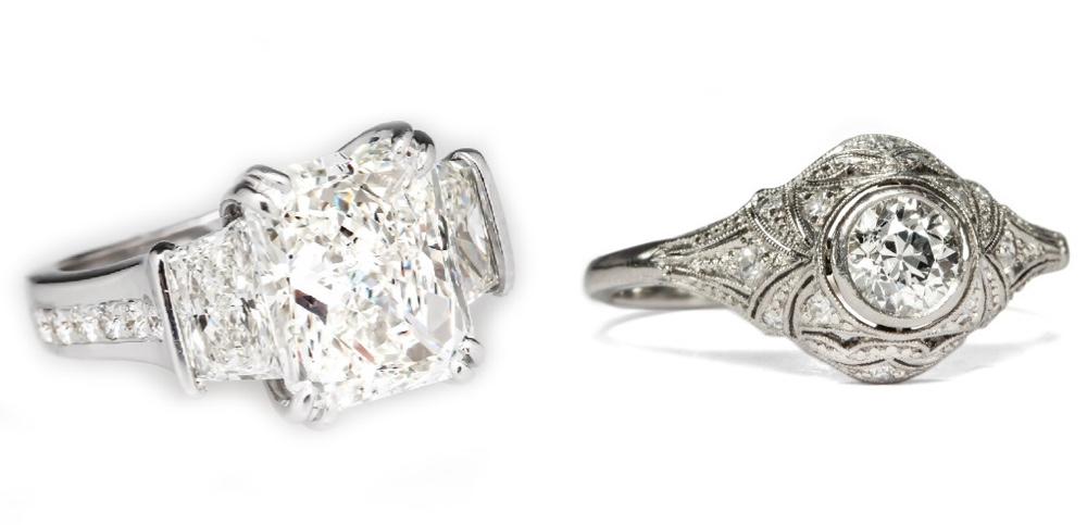 Links: Verlobungsring aus Weißgold mit 3 Diamanten (zus. 5,59 ct) EraGem Rechts: Art Déco-Ring aus Platin mit Altschliff-Brillant (0,50 ct) und weiteren Diamanten, um 1930 Hofer