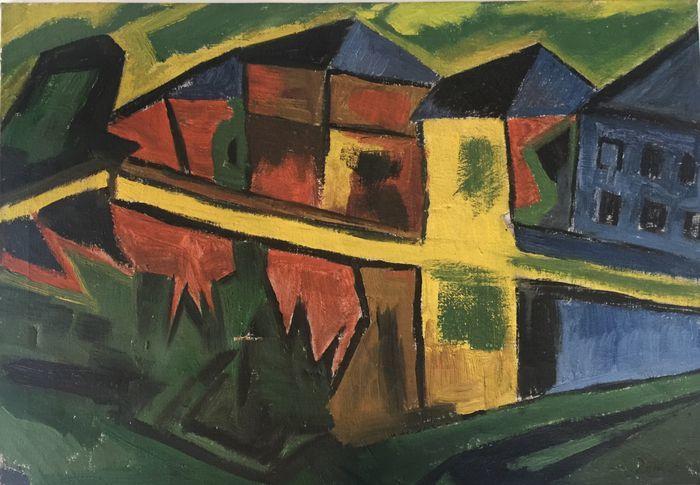 Oidentifierad konstnär - Expressionistisk oljemålning, 65 x 45 cm, daterad 1918. Slutpris: 30 400 kronor.