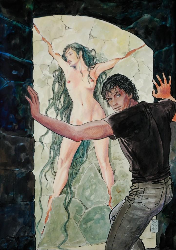 MILO MANARA & GIUSEPPE BERGMAN - Jour de colère: La Vierge Murée, Originalcover der 5. Ausgabe, Mischtechnik auf Karton, 2005 Schätzpreis: 9.400.12.000 EUR