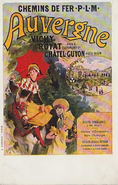 Publicité par Jules CHERET pour les chemin de fer P.L.M.