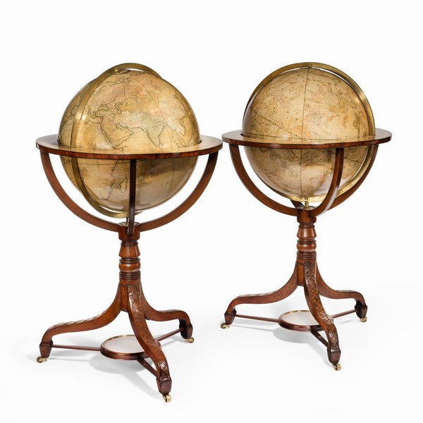 """Pair of 21"""" Cary's Terrestrial and Celestial Library Globes. Photo: Wick Antiques"""
