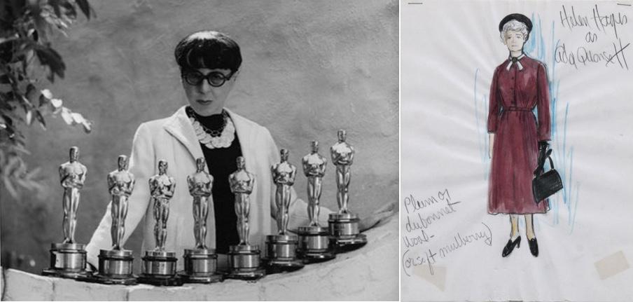 """Links: Edith Head mit ihren acht Oscars für das beste Kostümdesign Foto via fashiontrendsdaily.com Rechts: Kostümskizze von Edith Head für den Film """"Airport"""" RoGallery"""