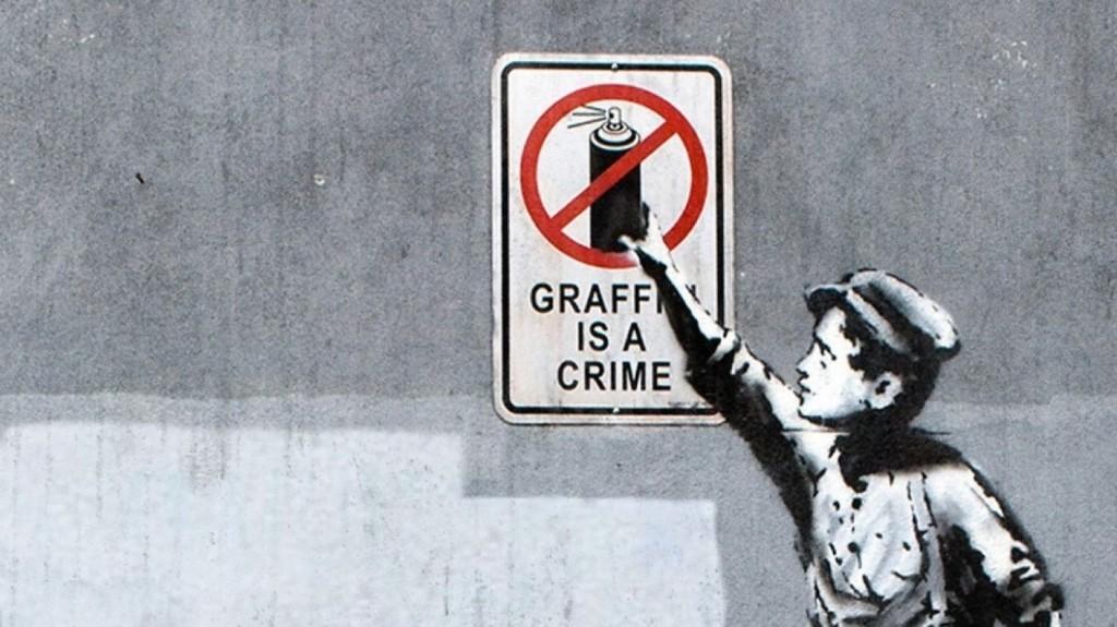 Bansky, 'Graffiti is a Crime'. Photo: domain.com