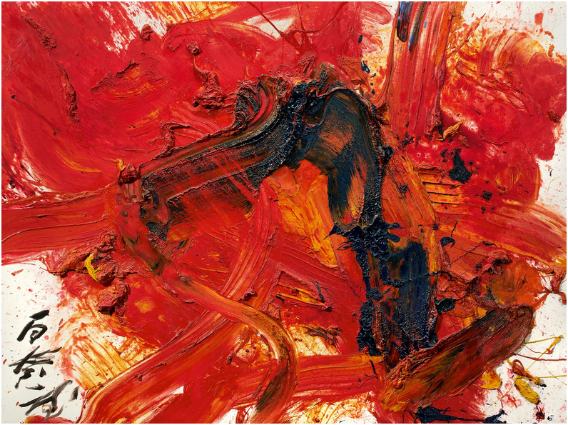 KAZUO SHIRAGA (1924 - Amagasaki - 2008) - KINKO. Colourful like autumn leaves, olja på canvas, 97 x 130,5 cm. Namngiven, signerad och daterad 1991. Utropspris: 4,6 - 6,5 miljoner kronor.