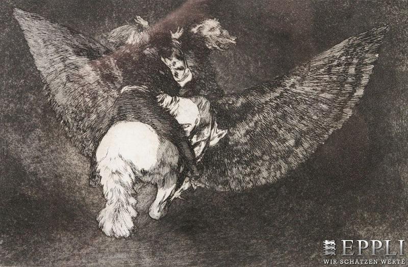 """FRANCISCO DE GOYA Y LUCIENTES. """"Disparate Volante"""" de los Proverbios. Aguafuerte (1824)"""
