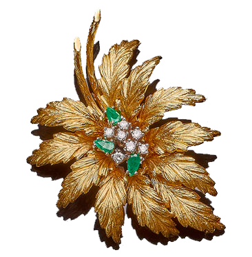 Broche feuille or jaune et brillants Estimation basse: 760 €