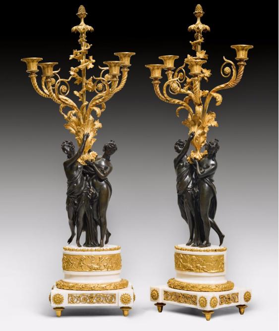 """Ett par kandelabrar """"Flore et zephyr"""" Louis XVI. På auktion hos Koller"""