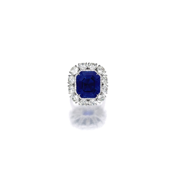 EXCEPTIONAL AND VERY RARE SAPPHIRE AND DIAMOND RING. Sotheby's.