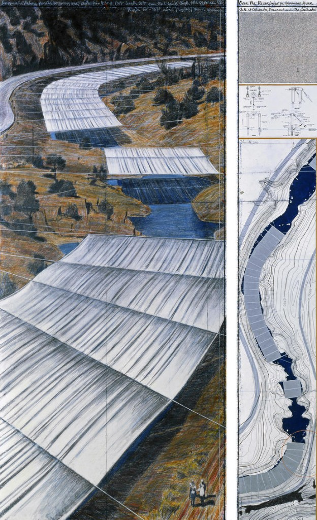 "Over The River (Project for Arkansas River, State of Colorado) Drawing 2010 in two parts 96 x 42"" and 96 x 15"" (244 x 106.6 cm and 244 x 28 cm) Pencil, wax crayon, charcoal, pastel, enamel paint, fabric sample, hand-drawn topographic map, technical data and tape Photo: André Grossmann © 2010 Christo"
