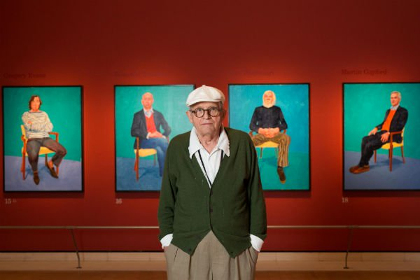 "David Hockney in seiner Ausstellung ""David Hockney RA: 82 Portraits and 1 Still-life"" in der Royal Academy Foto: © David Parry/Royal Academy"